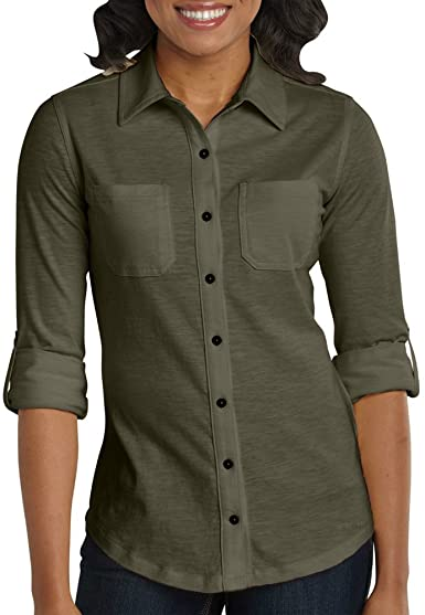 Carhartt Women's Medina Knit Button Down Shirt at Amazon Women's .