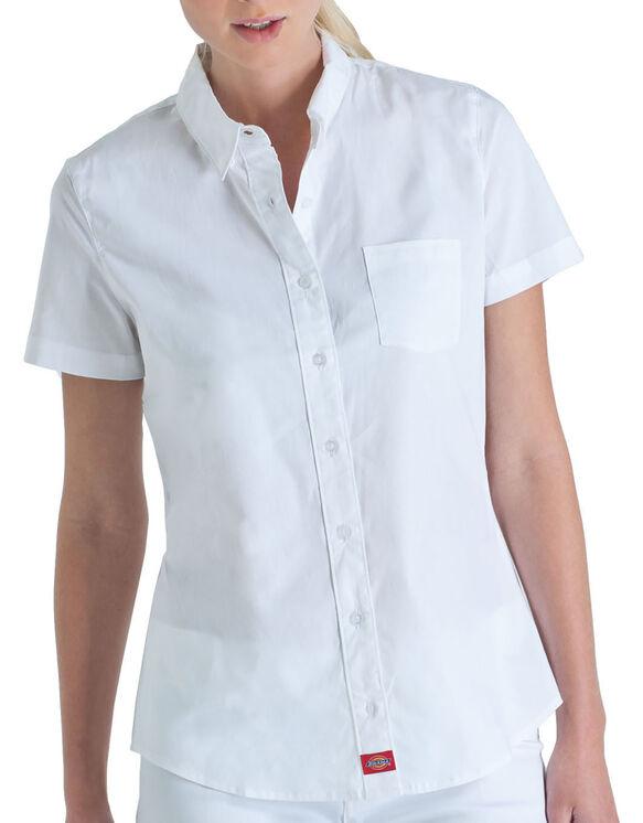 Dickies Girl Juniors' Poplin Short Sleeve Button Down Shirt .
