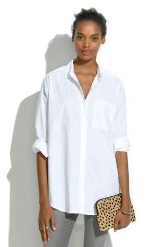 Oversized Button-Down Shirt. To wear with leather leggings! (With .