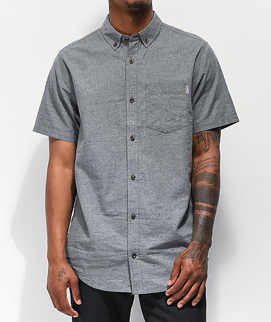Dravus Alvin Speckled Grey Woven Short Sleeve Button Up Shirt | Zumi
