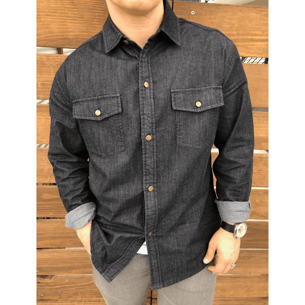 Black Denim Button-Up | Long Sleeve Button-up Shirts | Dapper Boi .