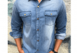 Light Blue Faded Denim Button-Up | Long Sleeve Button-up Shirts .