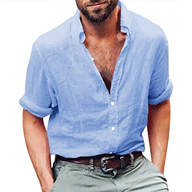 Mens Linen Shirts Long Sleeve Casual Button Up Loose Fit Beach .