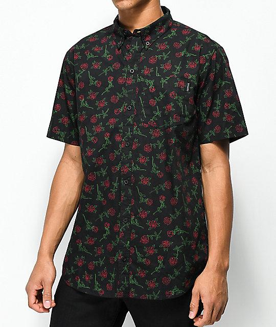 Empyre Rose Black Short Sleeve Button Up Shirt | Zumi