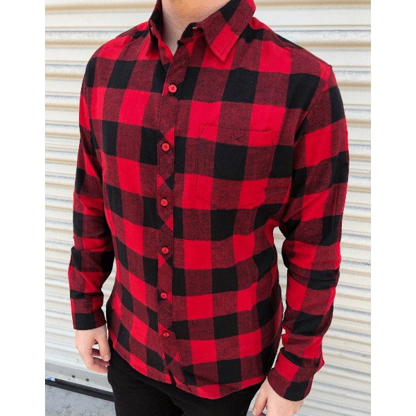 Red Checkered Flannel Button-Up | Long Sleeve Button-up Shirts .