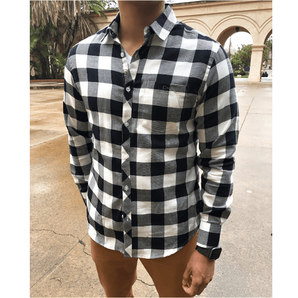 Black Checkered Flannel Button-Up | Long Sleeve Button-up Shirts .