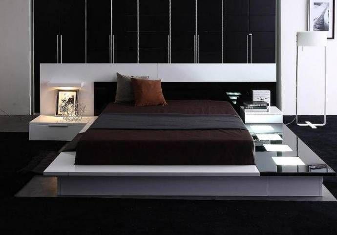 California King Bed N/S Included Glossy White Black VIG Modrest .