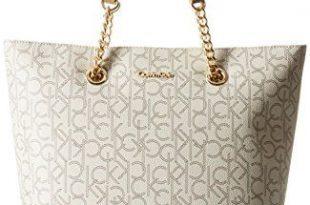 Calvin Klein Monogram Tote Bag, Almond/Khaki/Cashew Saffiano, One .