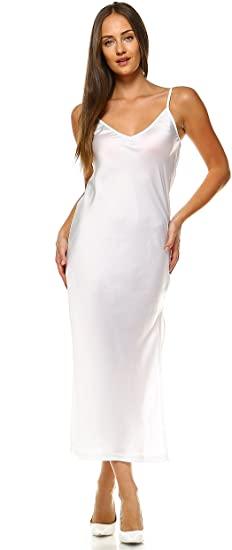 Melody Women V Neck bias Cut Satin Camisole Full Slip Dress at .