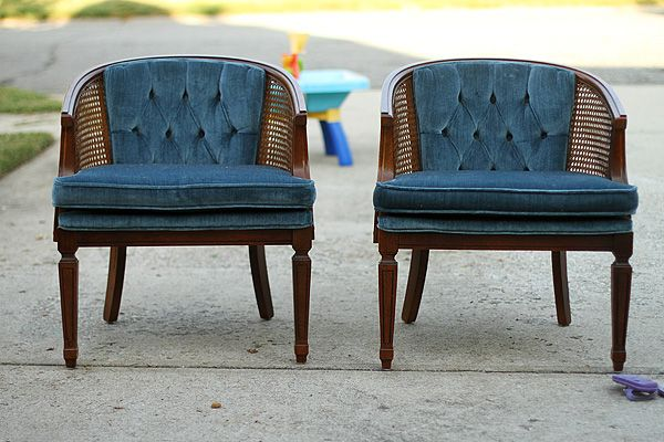 Thrifty Thursday...a Tutorial: How to Reupholster a Cane Chair .