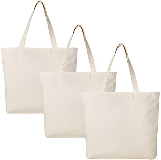 Amazon.com: BagzDepot Canvas Tote Bag with Zipper - 3 Pack - Bulk .
