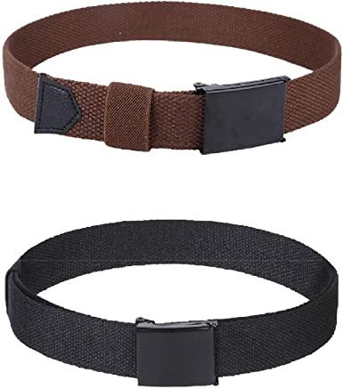 Amazon.com: Boys Kids Cotton Canvas Belts - 2Pcs Adjustable Canvas .