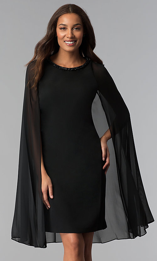 Short Black Wedding-Guest Dress with Cape - PromGi