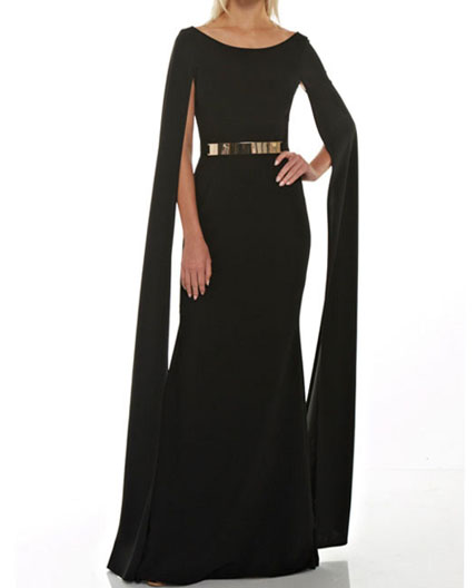 Cape Style Black Evening Dress, Cape Sleeve Formal Dress, Sexy .