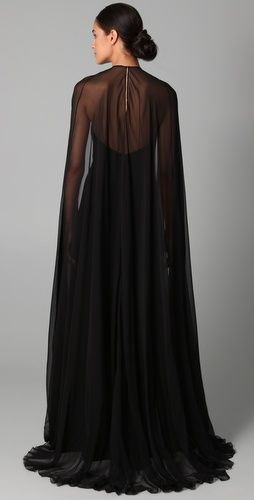 Halter Gown with Chiffon Cape (With images) | Chic outfits .