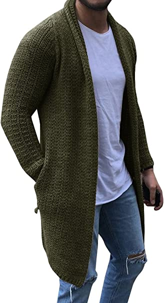Enjoybuy Mens Shawl Collar Cardigan Sweaters Open Front Cable Knit .