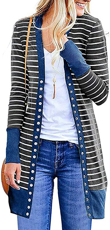 Amazon.com: AEL Casual Knitted Cardigans for Women Button Down .