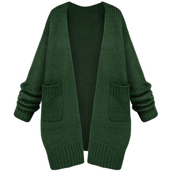 Womens Casual Long Sleeve Cardigan Sweater Coat Green ($48 .