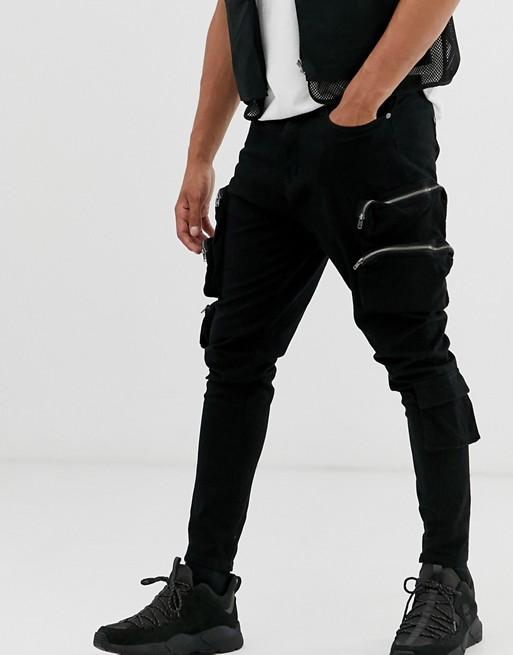 Liquor N Poker slim utility cargo jeans in black | AS