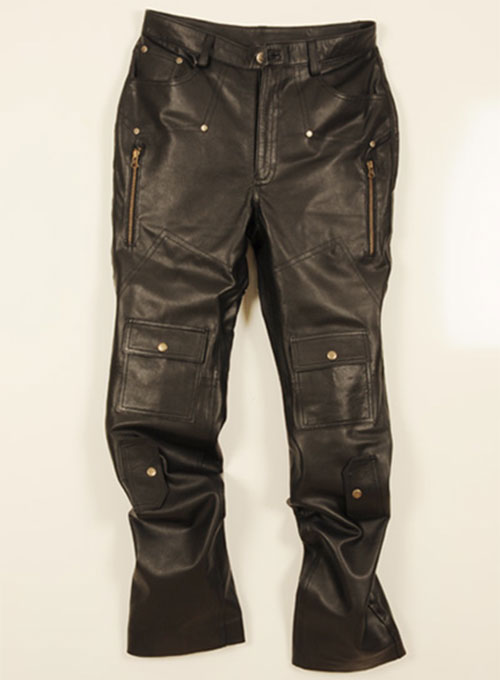 Leather Cargo Jeans - Style 08-5 Leather Cargo Jeans .