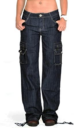 Dark Wash Wide Denim Cargo Jeans - Indigo at Amazon Women's Jeans .