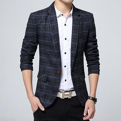 Business Mens Blazer Casual Blazers Men Lattice Formal Jacket .