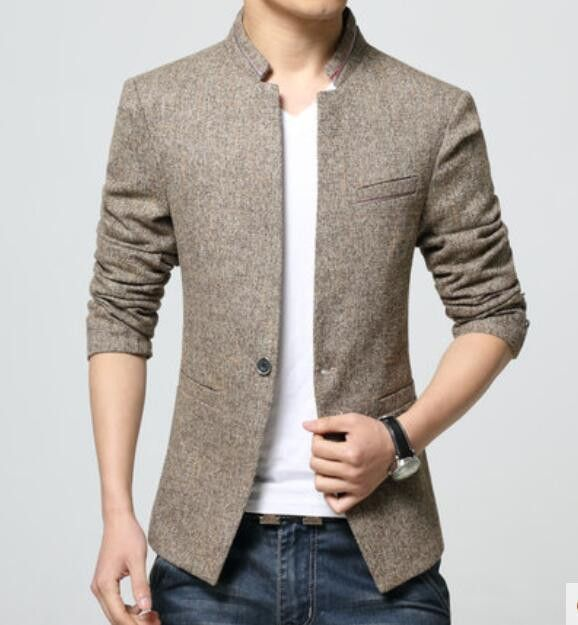 Top Fashion Korean Style Mens waist length stand collar Casual .
