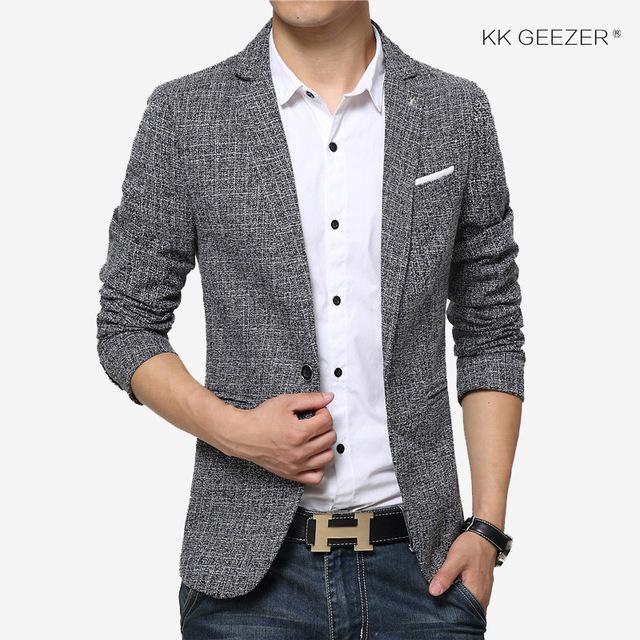 Men Suit Jackets Cotton Casual Blazers Slim Fit Single Button .