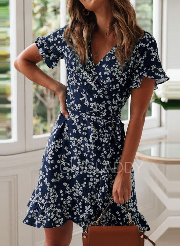 Print/Floral Short Sleeves A-line Above Knee Casual Dresses .