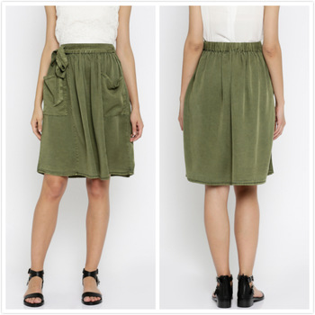 New Customized Casual Olive Green Skirts With Bandwaist Knee .