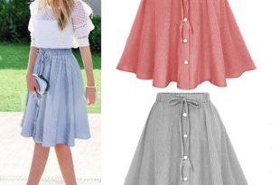 Women Fashion High Waist Solid Color Pleated Skirt Ladies Elegant .