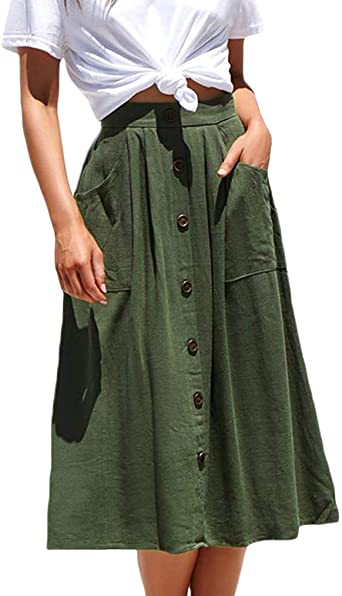 Naggoo Womens Casual Front Button A-Line Skirts High Waisted Midi .