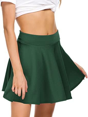 Amazon.com: EXCHIC Women Stretch Waist Flared Mini Skater Skirt .