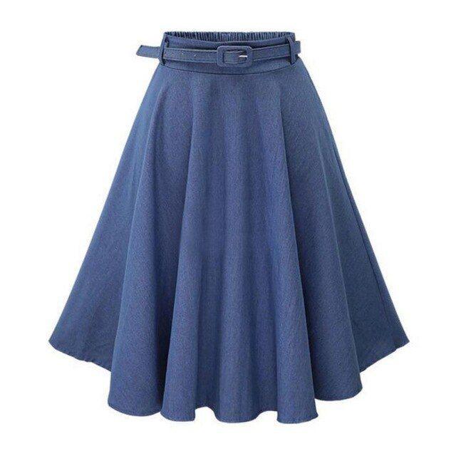 Summerwomen denim jeans skirts a line casual skirt high elastic .