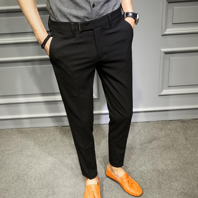 Korean Slim Fit Men Trousers Suit Pant Black Navy Solid Business .