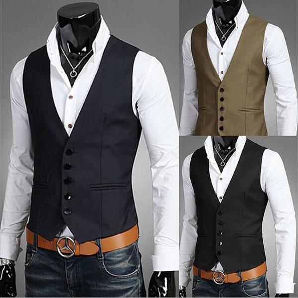 Dress Vests For Men Slim Fit Mens Suit Vest Male Waistcoat Gilet .