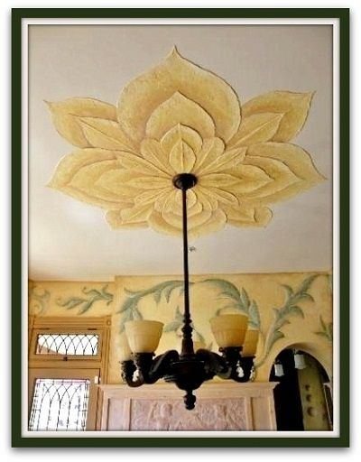 Ceiling Design Ideas -- Textured ceiling flower and old world .