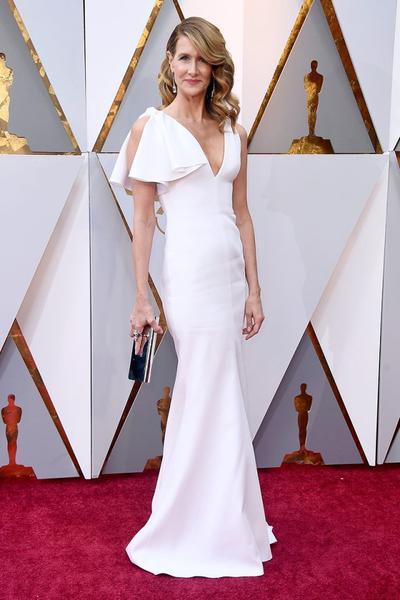 Laura Dern White Long Celebrity Dresses for The Oscars .