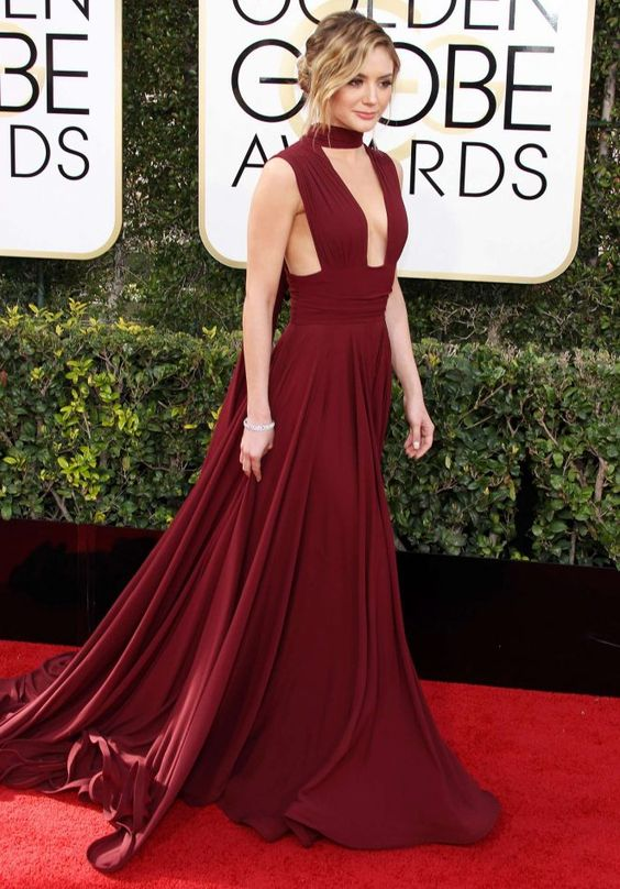 Inspired by Christine Evangelista Celebrity Dresses WIne Red .