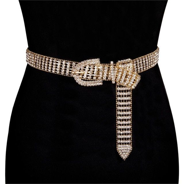 Women's Shiny Fullrhinestone Belt Bright Bride Bling Crystal .