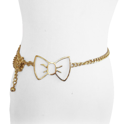 Gold Bow Tie Chain Belt for Wom