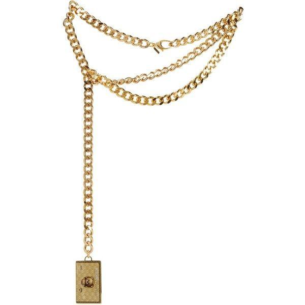 Womens Belts Moschino Credit Card Gold Tone Chain Belt ($330 .