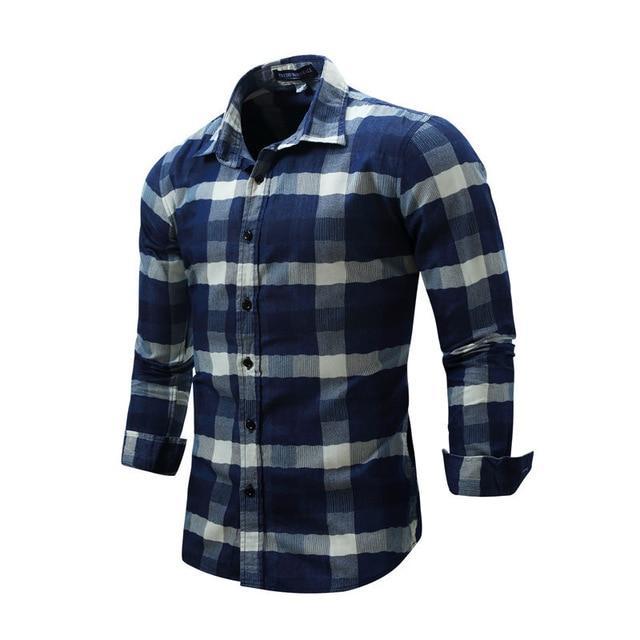 Blue Plaid Long Sleeve Shirts Men Spring New Check Shirt Cotton .