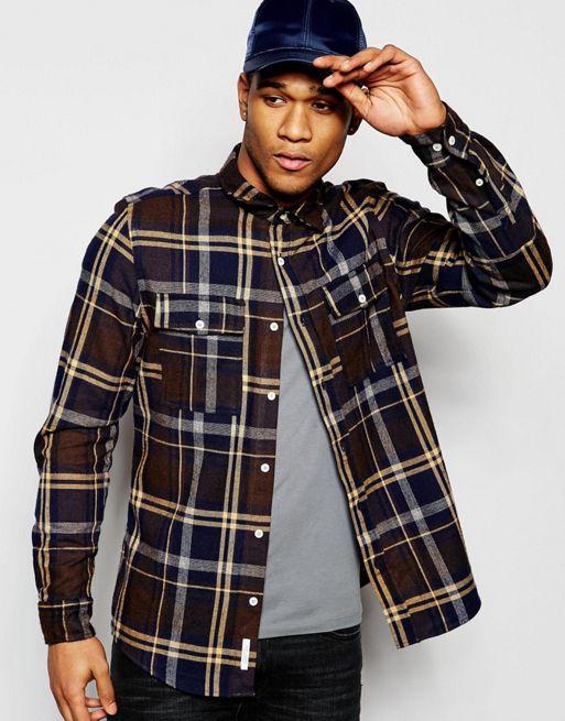 River Island Check Shirt In Light Brown Regular Fit Men Shirts .