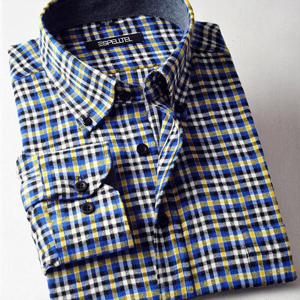 Fashion 2015 men plaid shirt men's Slim Fit Design cotton check .