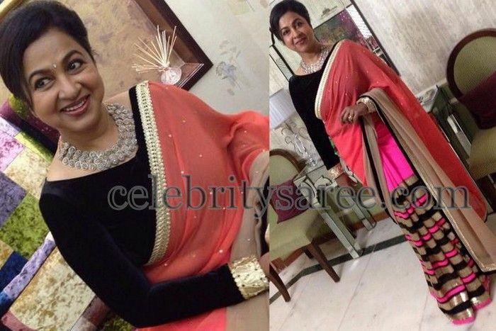 Radhika Stripes Saree in Chiffon | Saree blouse designs, Beautiful .