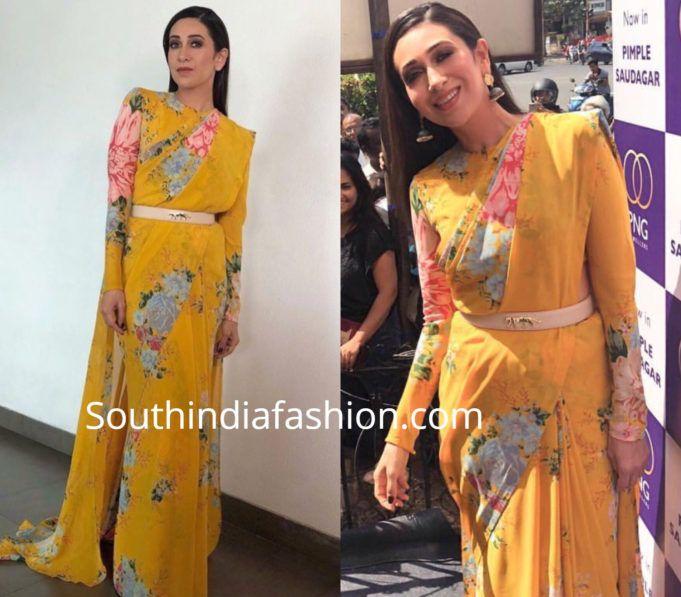 Chiffon Saree Blouse Designs (With images) | Long sleeve saree .