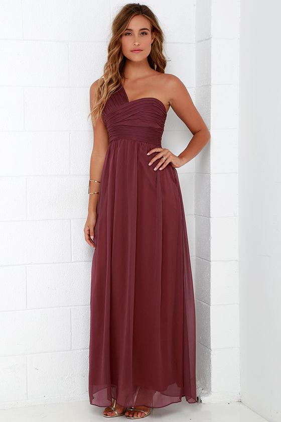Lovely Burgundy Dress - Maxi Dress - Chiffon Dress - $98.