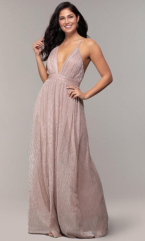 Glitter Chiffon V-Neck Long Prom Dress - PromGi