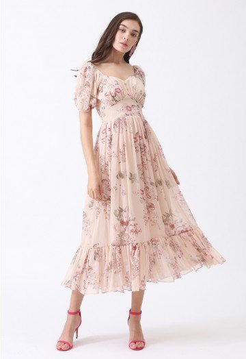 Enchanting Peony Chiffon Maxi Dress - Retro, Indie and Unique Fashi
